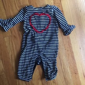 Baby Gap Striped Jumpsuit with Heart & Bell Sleeve